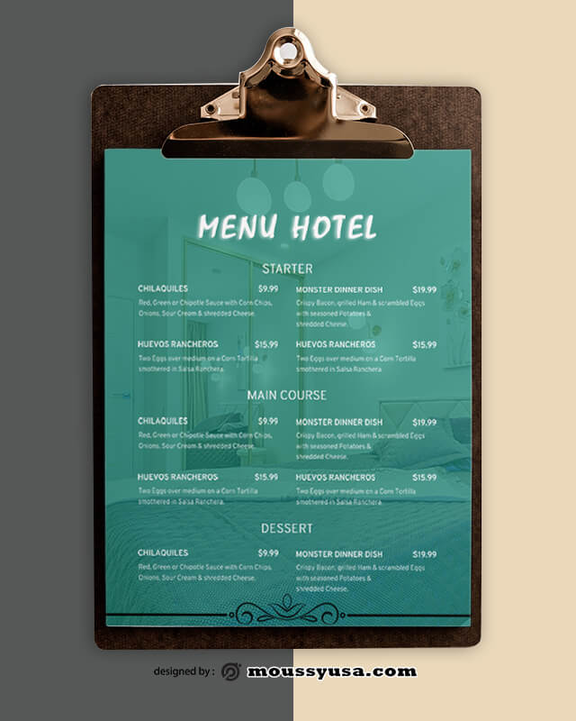 Sample Hotel Menu templatess