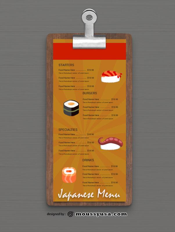 Sample Japanese Menu templatess