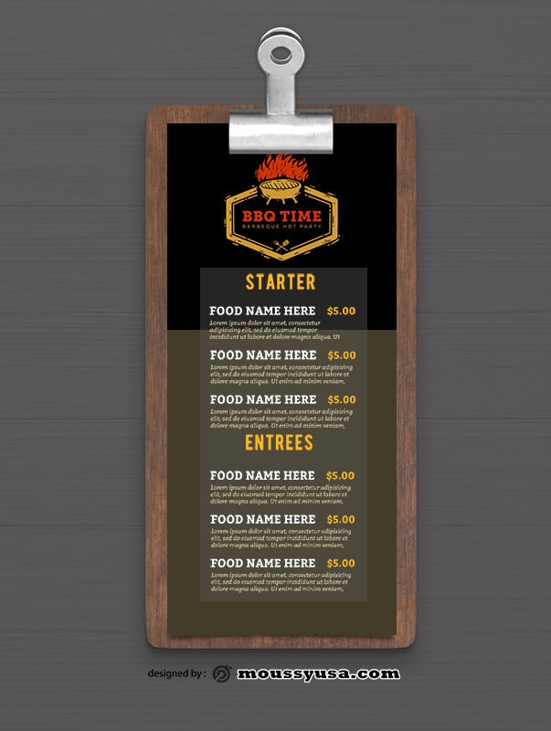 Sample Steakhouse BBQ Menu templates