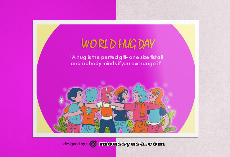 Sample World Hug Day Greeting Card templatess