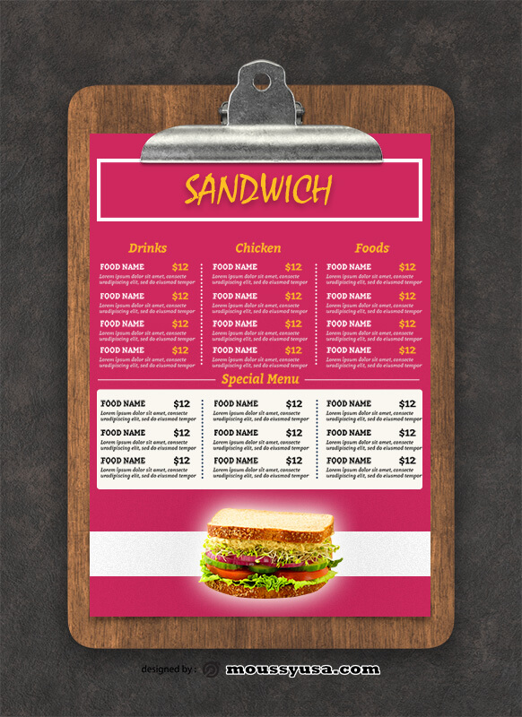 Sandwich Menu Design Ideas