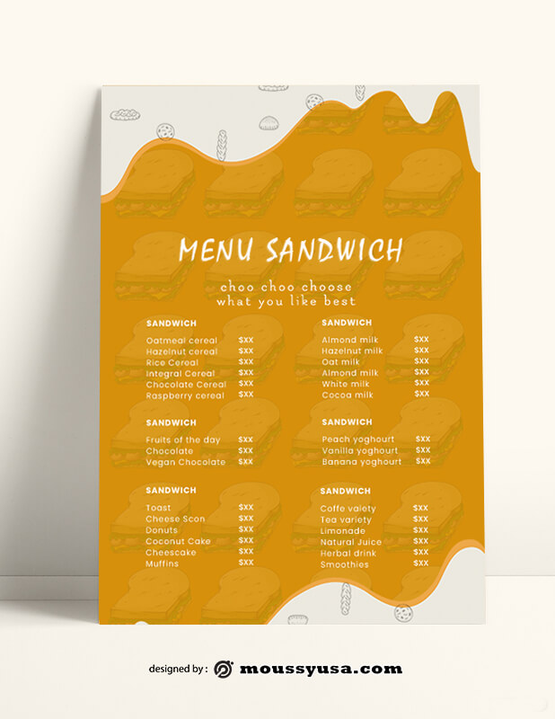Sandwich Menu templates Sample