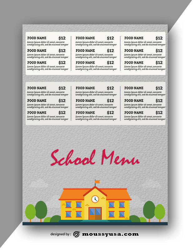 School Menu templates Design