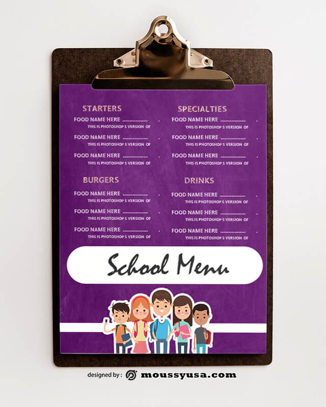 School Menu templates Ideas