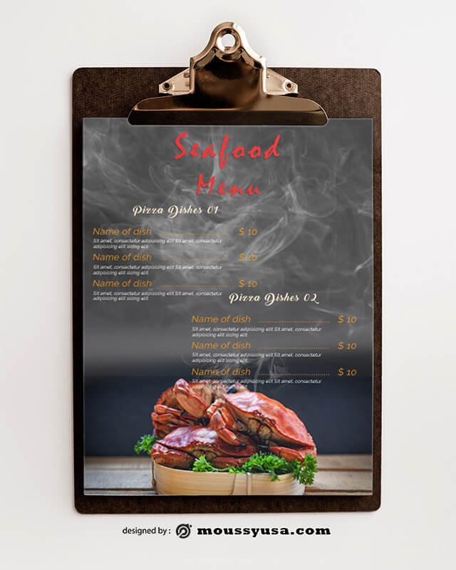 Seafood Menu Design PSD