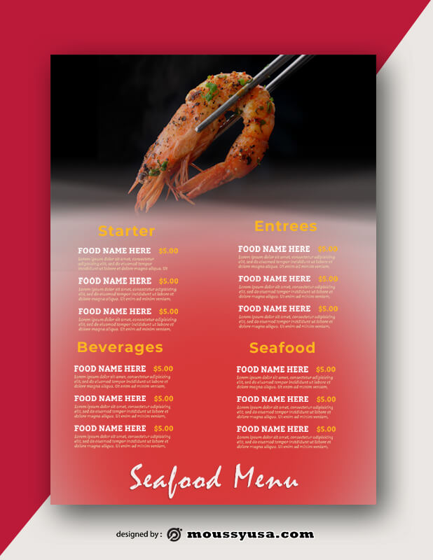Seafood Menu templates Example