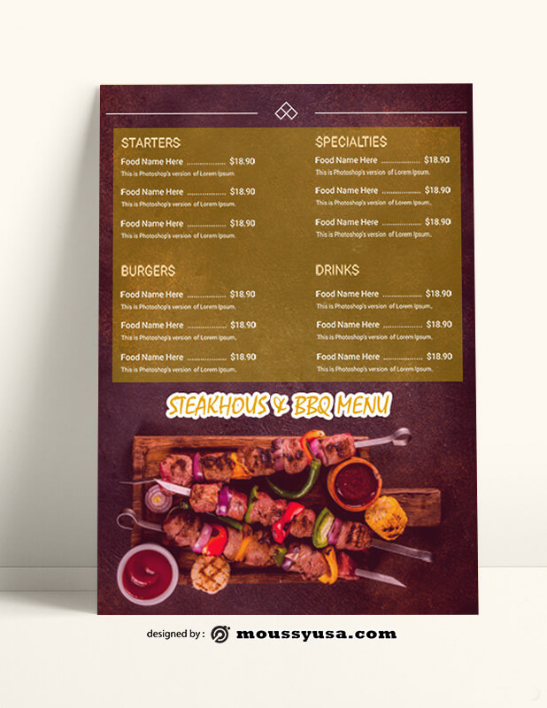 Steakhouse BBQ Menu templates Sample