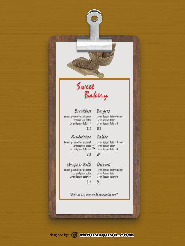 Sweet Bakery Menu templates Design