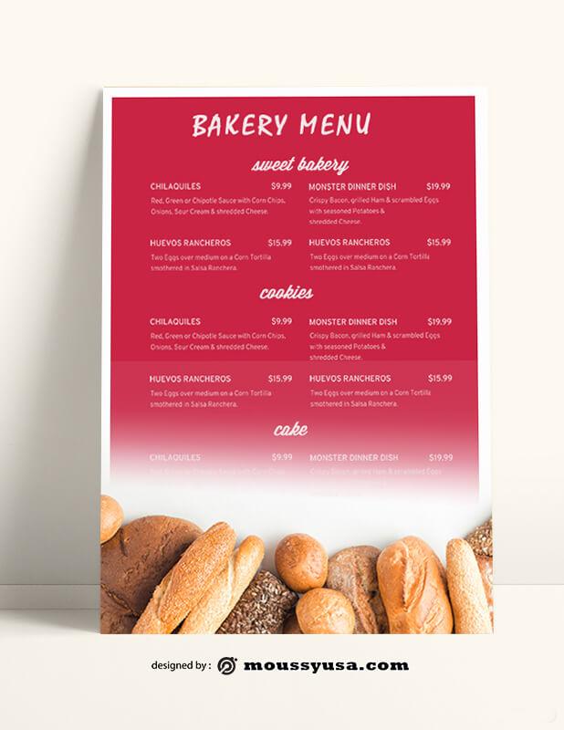 Sweet Bakery Menu templates Example