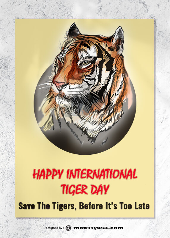 Tiger Day Greeting Card Design PSD