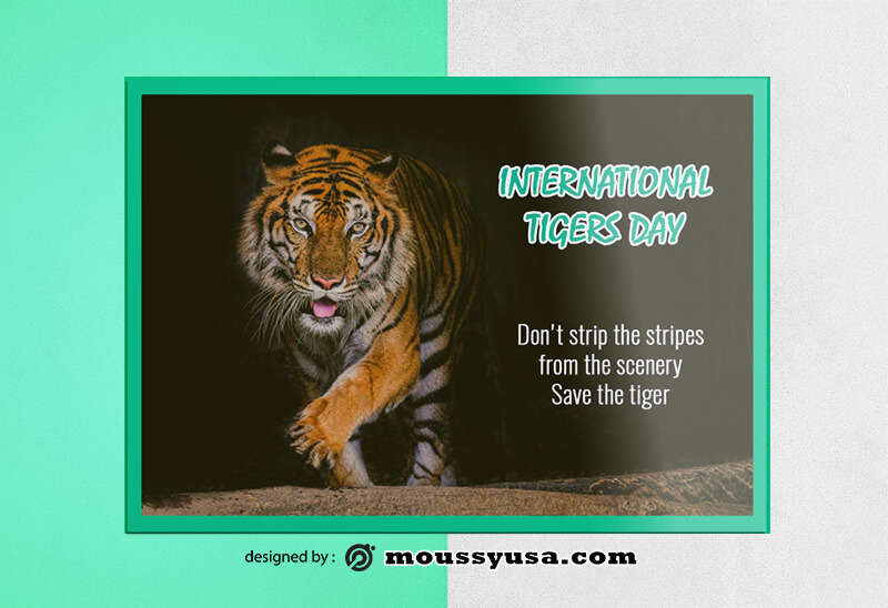 Tiger Day Greeting Card Design templates