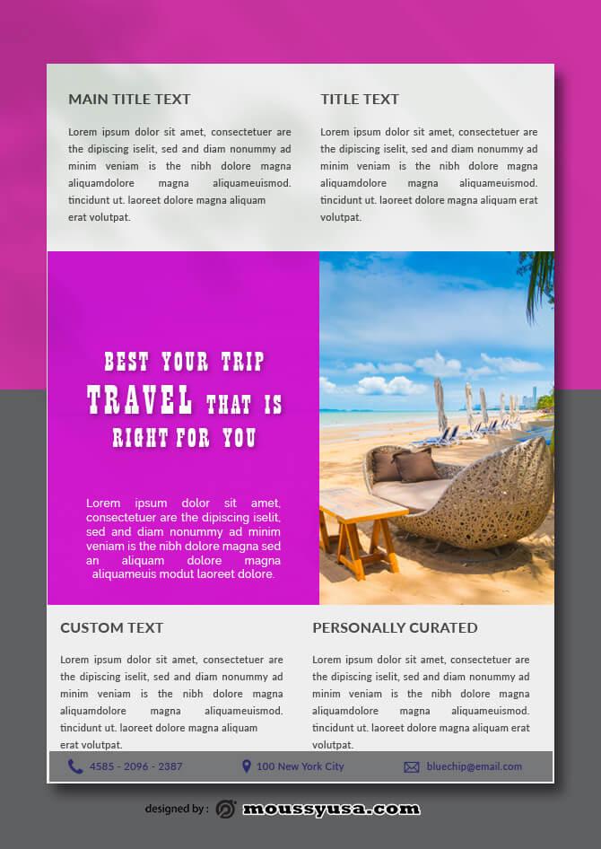 Travel Data Sheet Design PSD