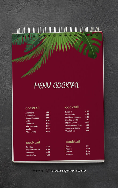 Tropical Cocktial Menu templates Design