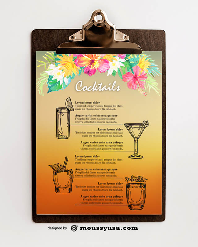 Tropical Cocktial Menu templates Ideas