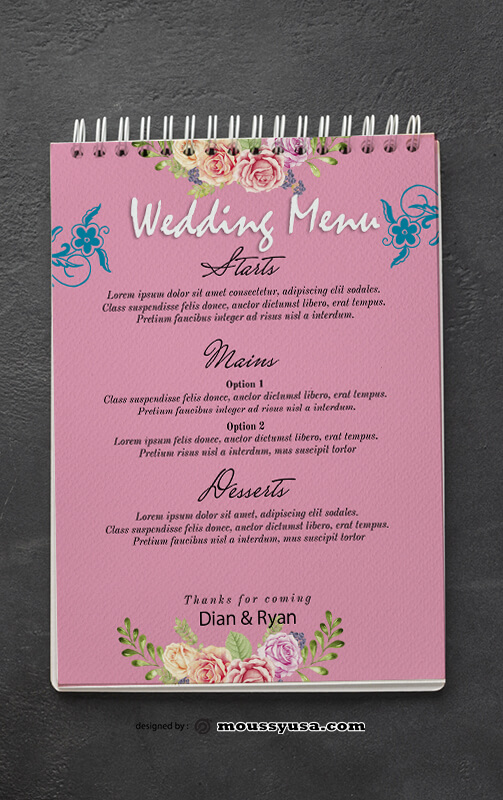 Wedding Menu Design PSD