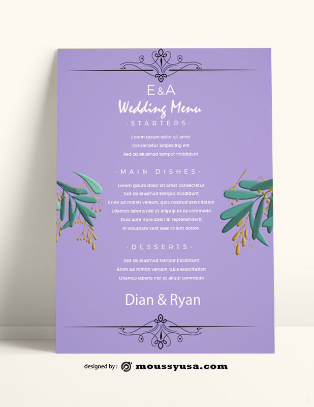Wedding Menu templates Example