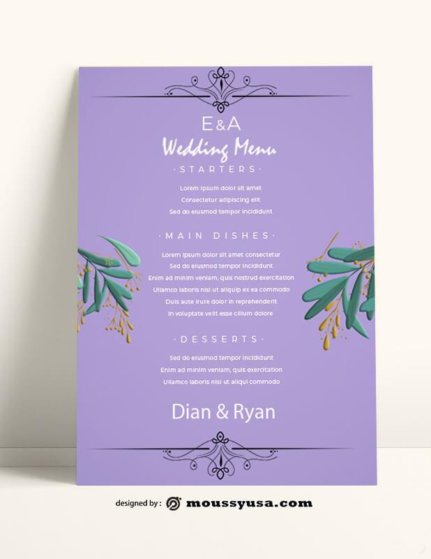 Wedding Menu templates Example