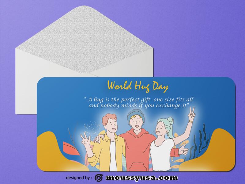 World Hug Day Greeting Card templates Design