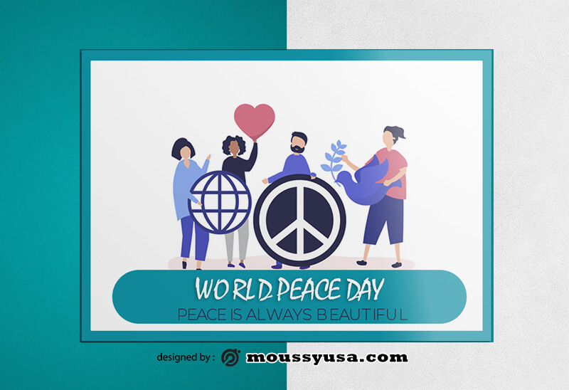 World Peace Day Greeting Card templates Example