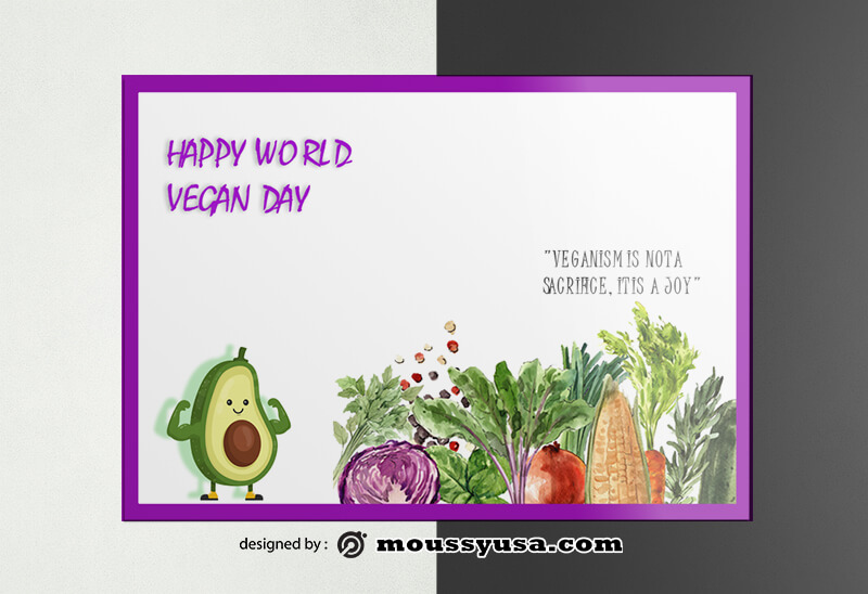 World Vegan Day Greeting Card Design PSD