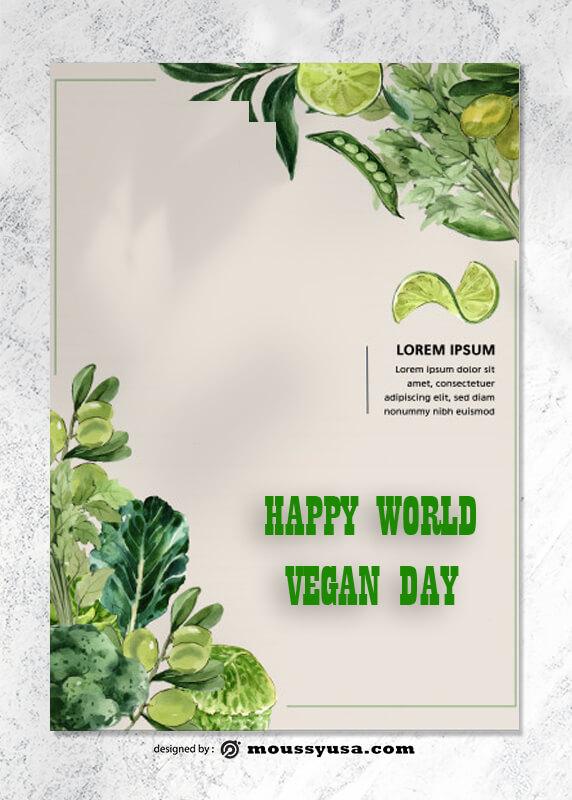 World Vegan Day Greeting Card Design templates