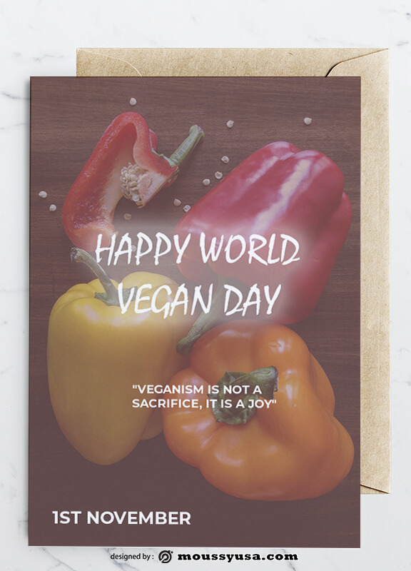 World Vegan Day Greeting Card templates Example