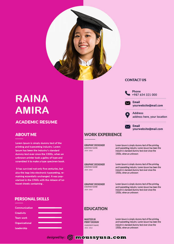 Academic Resume customizable psd design template