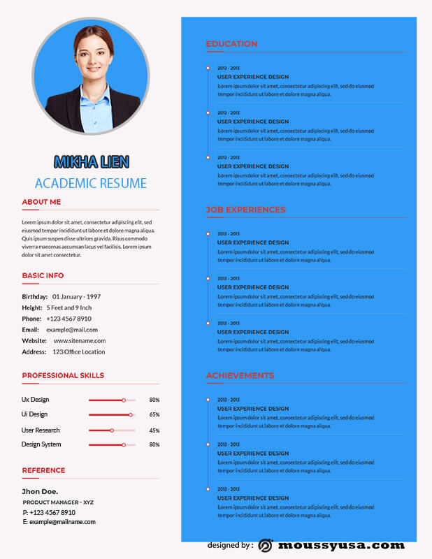 Academic Resume example psd design