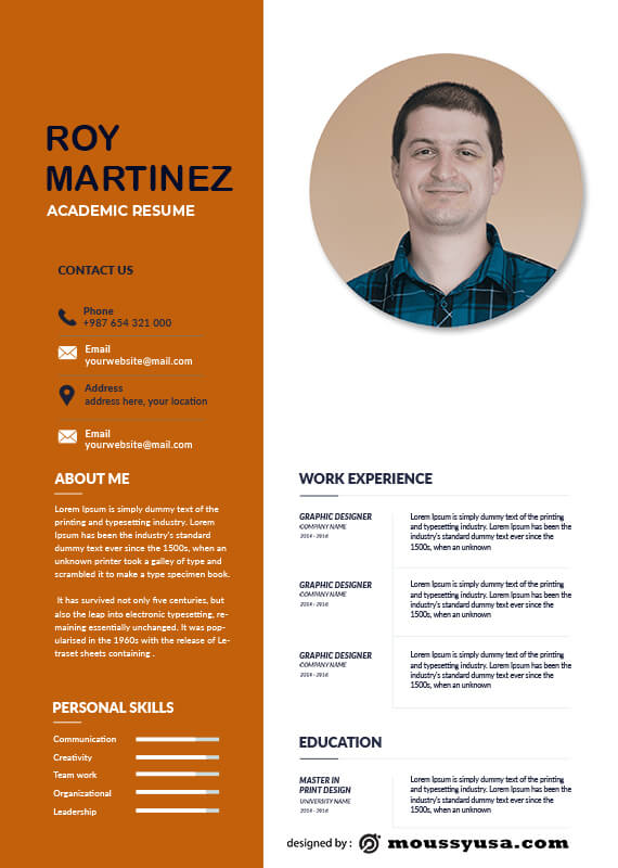 Academic Resume free download psd