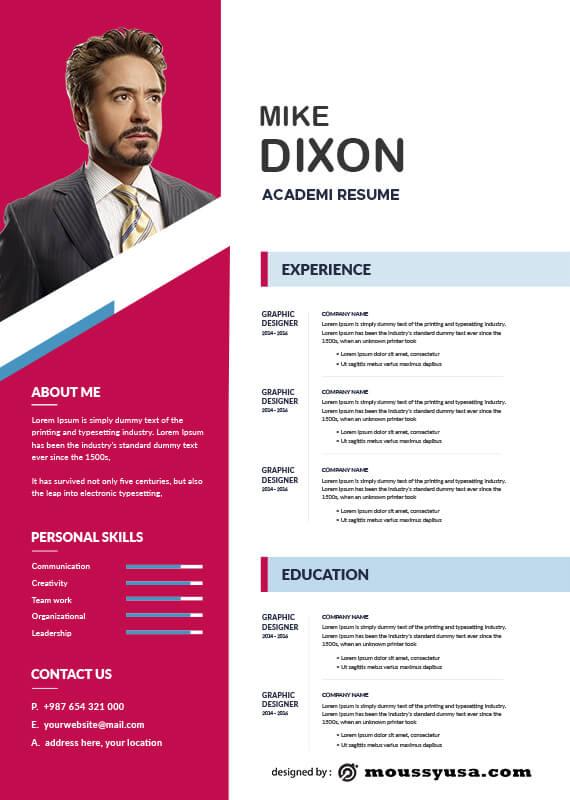 Academic Resume free psd template