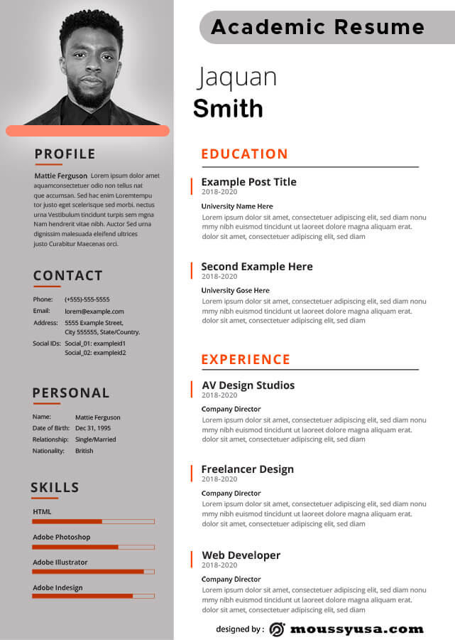 Academic Resume in photoshop free download