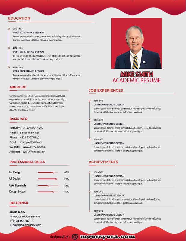 Academic Resume in photoshop