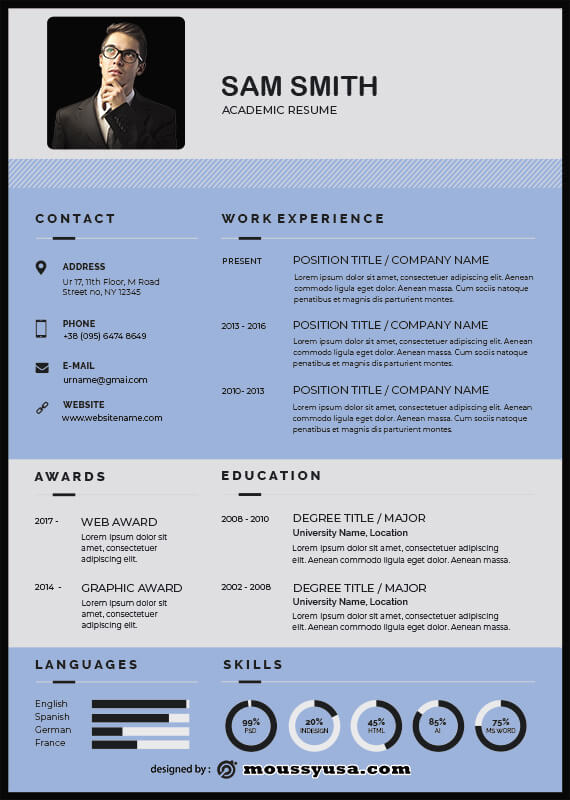 Academic Resume in psd design