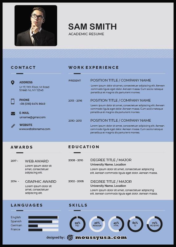 Academic Resume in psd design