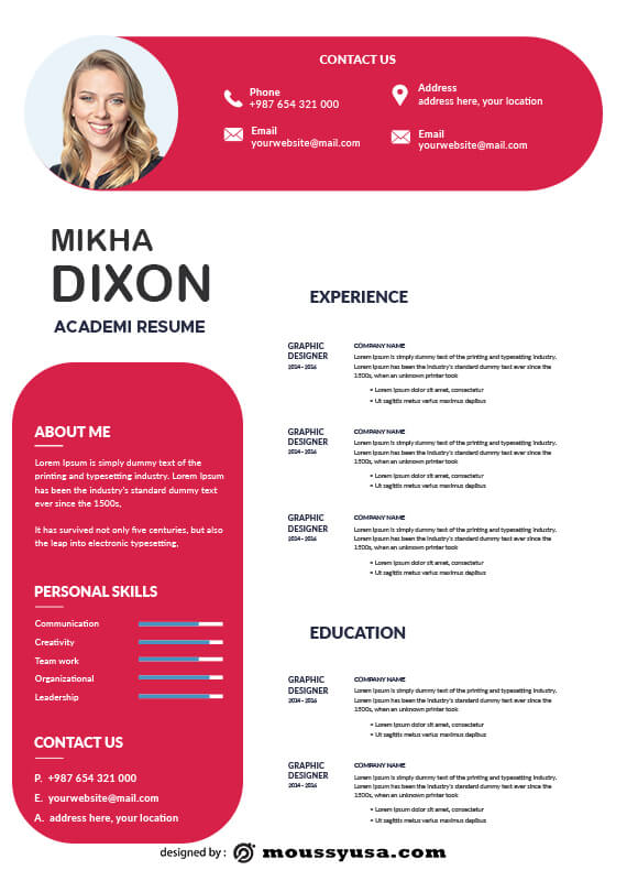 Academic Resume template for photoshop
