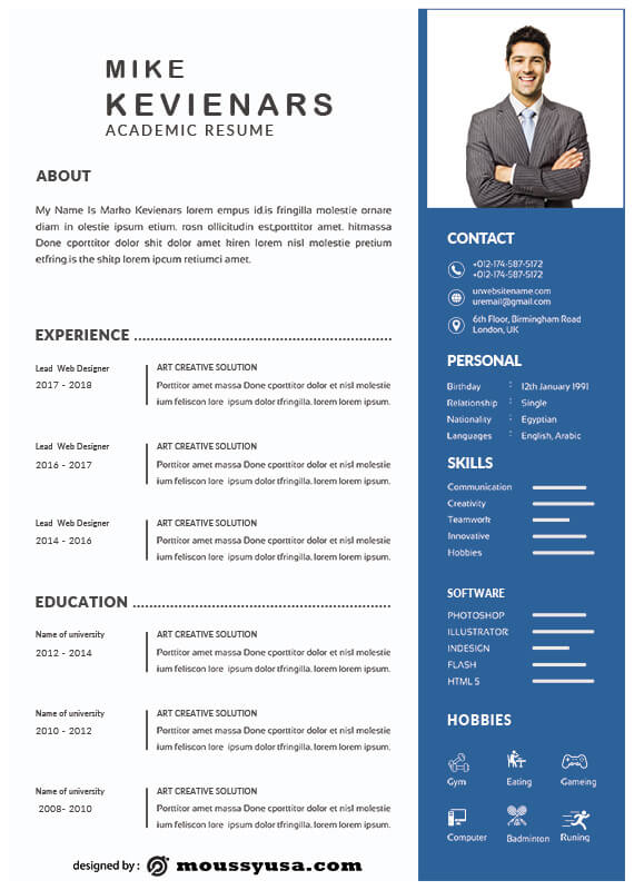Academic Resume template free psd