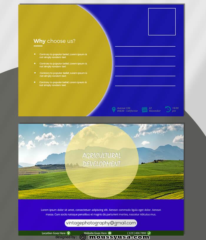 Agricultural Postcard Design PSD