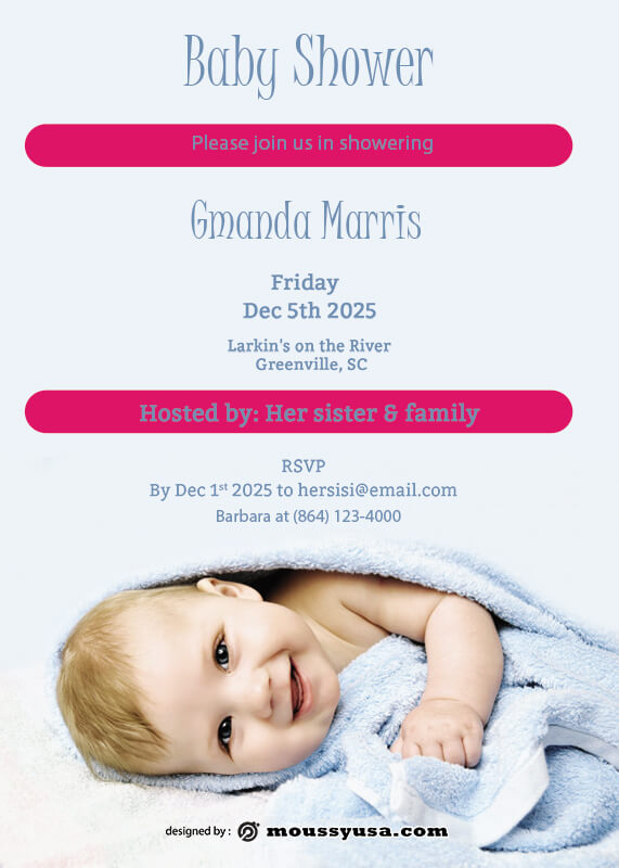 Baby Invitation psd template free