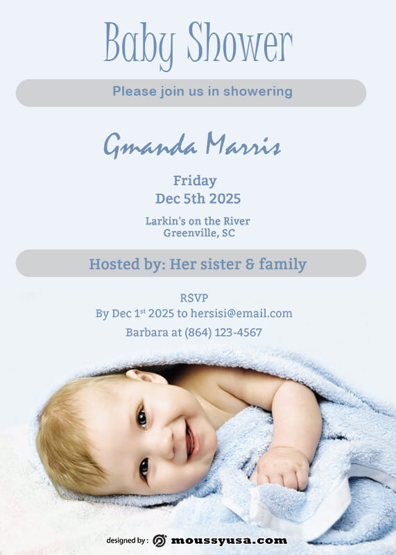 Baby Invitation template for photoshop