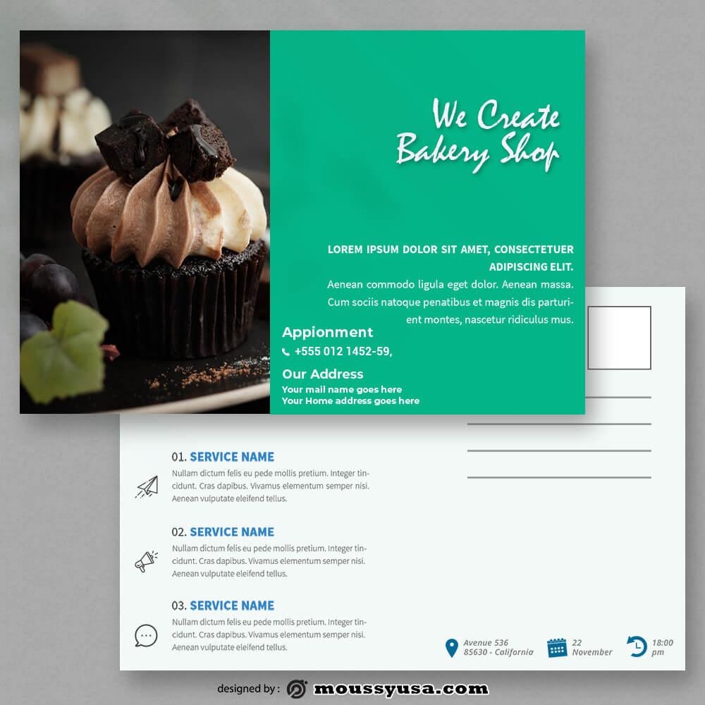 Bakery Postcard templates Sample