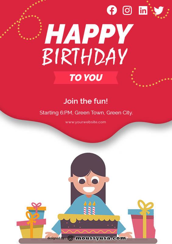 Birthday Banner customizable psd design template