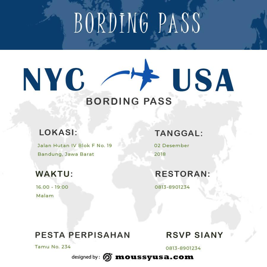 Boarding Pass customizable psd design template