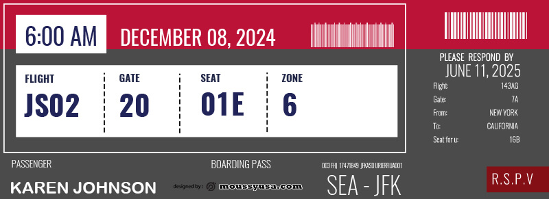 Boarding Pass example psd design