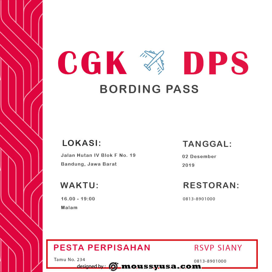 Boarding Pass free psd template