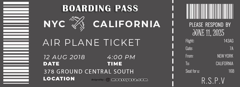 Boarding Pass template for photoshop