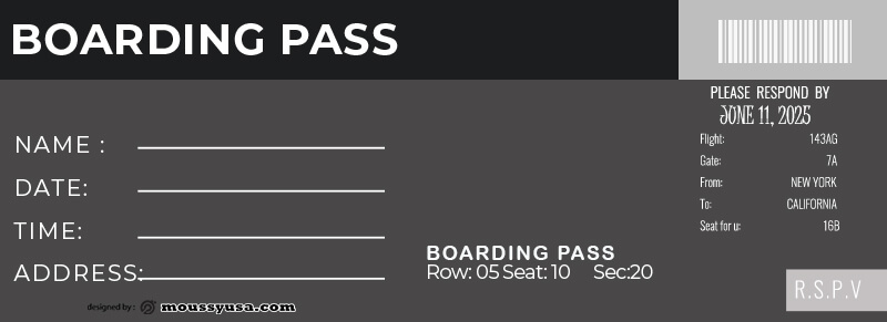 Boarding Pass template free psd