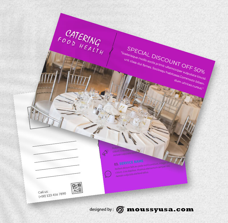 Catering Postcard templates Example