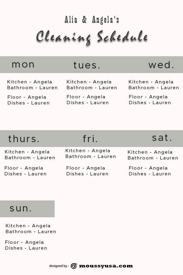 Cleaning Schedule customizable psd design template