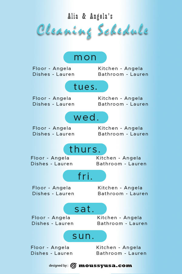 Cleaning Schedule in photoshop free download