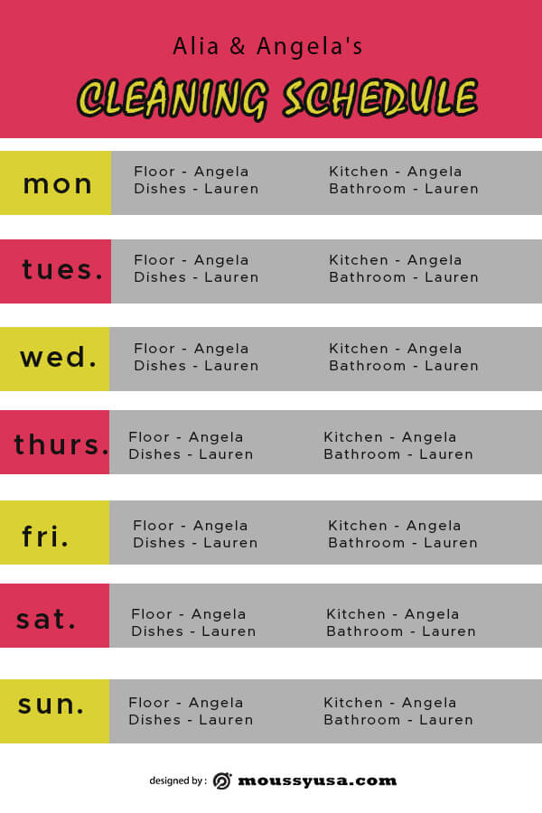 Cleaning Schedule template for photoshop